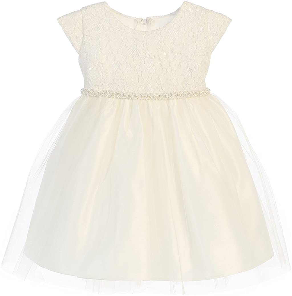 Sweet Kids Satin with Lace and Tulle Flower Girl Formal Party Dress (6-24M)
