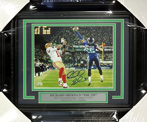 Richard Sherman Autographed Framed 8x10 Photo Seattle Seahawks The Tip RS Holo Stock #100343