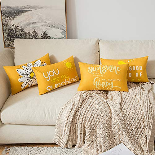 MIULEE Pack of 4 Decorative Cute Fall Throw Pillow Covers Cheery Quote Words Bird Sunshine Flower Cushion Case Sham Pillowcases for Couch Sofa Bed 12 x 20 Inch Orange