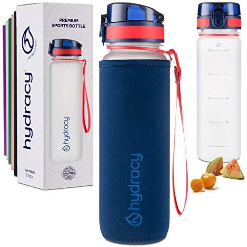 Hydracy Wasserflasche mit Zeitmarkierung – Große 500 ml BPA-freie auslaufsicher & kein Schwitzen Gym Flasche Fruchtsieb Ideales Geschenk für Fitness oder Sport Outdoor Weiß R&B