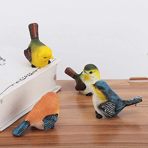 Decoración de aves, 4 piezas Decoración de aves de resina ecológica natural no tóxica sin decoloración, miembros de la familia de jardín de infantes duraderos Decoración de hotel al aire
