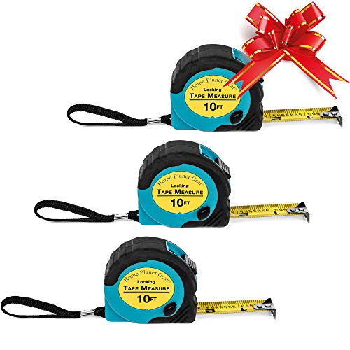 Where's My Tape Measure? - 10' Tape Measure Retractable (3Pack) Accurate Tape Measure with Fractions - Locking Small Measuring Tape with Autowind Measurement Tape - Easy to Read & EASY TO FIND!