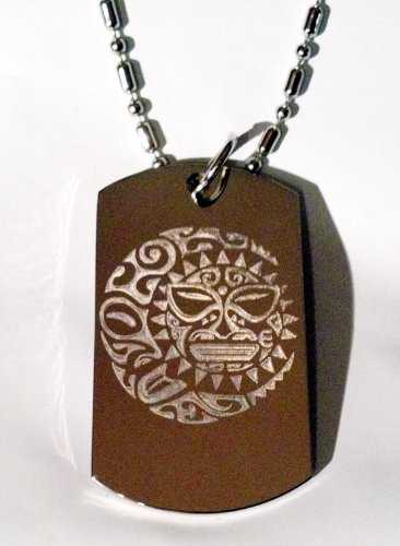 SUN Moon Star Celestial Celtic Tribal Tattoo Logo Symbols - Military Dog Tag Luggage Tag Key Chain Metal Chain Necklace