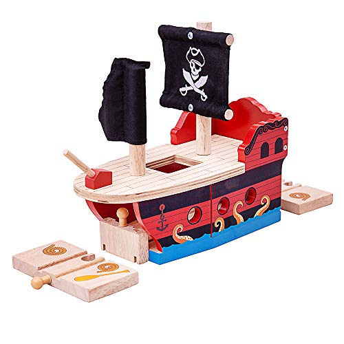 Bigjigs Rail Wooden Pirate Galleon - Other Major Wood Rail Brands are Compatible