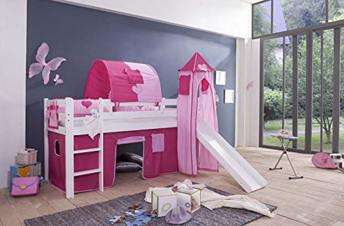 Tony hoogslaper kinderbed speelbed met glijbaan wit Princess 8 TLG Ink Tower + Vorhag + matras + tunnel + lattenbodem