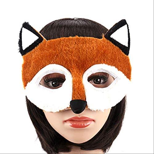 PMWLKJ 1 Unids Fiesta de Halloween Mscaras de animales Cosplay Mscara Accesorio de disfraz Panda Fox Len Leopardo Lobo Evento Suministros para fiestas 17.5x14.5cm zorro