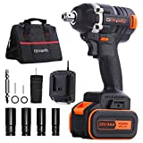 Cordless Impact Wrench, GOXAWEE 20V Electric Impact Wrench (4.0Ah Lithium Battery, 300Nm / Brushless) Professional Impact Wrench with 11 Accessories Include Tool Bag