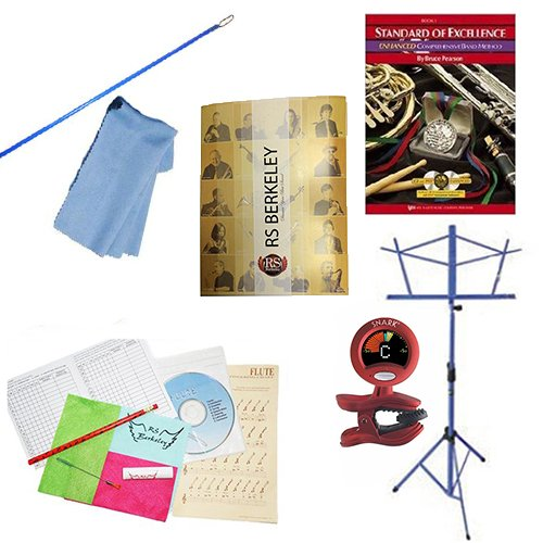 Flute Players Mega Pack - Essential Accessory Pack for the Flute: Includes: Flute Care & Cleaning Kit, Flute Cleaning Rod with Cloth, Music Stand, Band Folder, Standard of Excellence Book 1 for Flute, & Tuner & Metronome