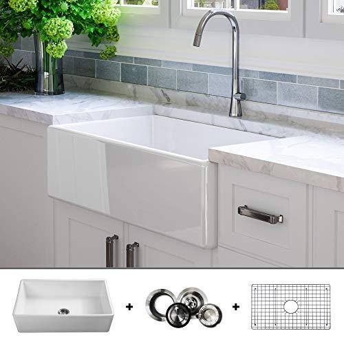 LUXURY 33 inch Modern Farmhouse Ultra-Fine Fireclay Kitchen Sink in White, Single Bowl, Flat Front,...