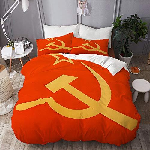 QINCO Bettwäsche-Set,Kommunistische CCCP-Flagge mit Hammer und Sichel, Symbole des Kommunismus,Mikrofaser Bettbezüge Set mit Reißverschluss,und Kopfkissenbezüge,240x260