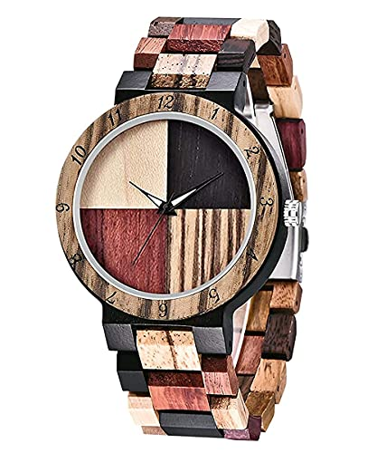 Orologio realizzato in autentico legno di sandalo   Esclusiva confezione regalo in legno   Prodotto naturale   Orologio da polso di legno da uomo