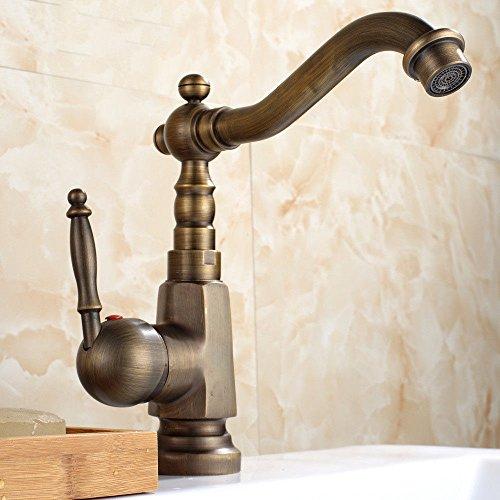 Water Tower - Grifo mezclador de válvula de latón macizo sin plomo y cerámica para lavabo, grifo de cascada, estilo retro, para fregadero de agua fría y caliente