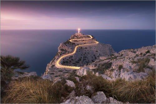 Posterlounge Leinwandbild 130 x 90 cm: Abendlicht am Cap Formentor (Mallorca/Spanien) von Kristian Goretzki - fertiges Wandbild, Bild auf Keilrahmen, Fertigbild auf echter Leinwand, Leinwanddruck