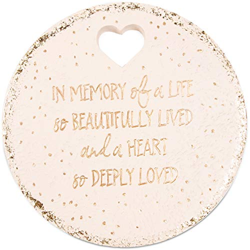 """Pavilion Gift Company 22213 in Memory of A Life So Beautifully Live and A Heart So Deeply Loved-10 Inch Weather Proof 10"""" Garden Stone, Round, Bege"""