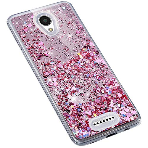 Uposao Lenovo A1010 Coque en Glitter,Liquide Paillettes Amour Motif Transparente Clear View Strass Brillante Ultra-Mince Silicone TPU Souple Bumper Case Housse Etui de Protection,Rose