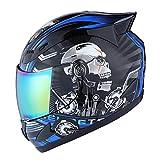 1Storm Motorcycle Bike Full FACE Helmet Mechanic Skull - Tinted Visor Blue