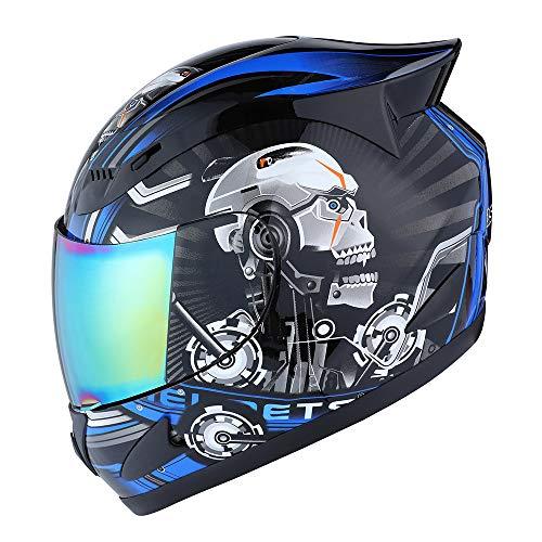 1Storm Motorcycle Bike Full FACE Helmet Mechanic Skull - Tinted Visor Blue Size L (57-58 cm 22.4/22.8 Inch)