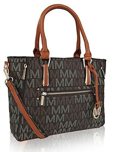 Mia K Collection Crossbody Shoulder Handbag for Women, PU Leather Pocketbook Top-Handle Purse Tote-Satchel Bag Brown
