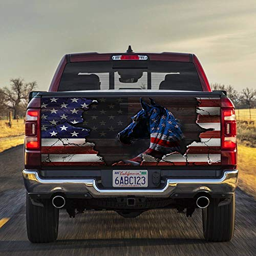 FLAGWIX Truck Decals-Horse American Truck Tailgate Decal Sticker Wrap PN222FTD, 66'x26' Bumper Stickers Graphics for Car Trucks SUV