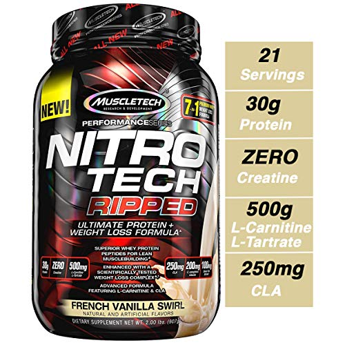 MuscleTech Nitro Tech Ripped Ultra Clean Whey Protein Isolate Powder + Weight Loss Formula, Low Sugar, Low Carb, French Vanilla Swirl, 2 Pounds