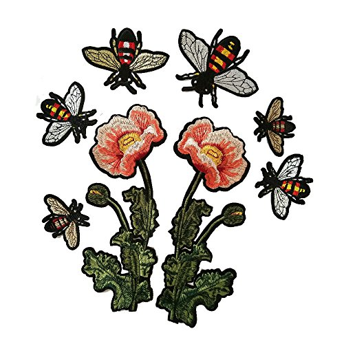 1 Pair Flower Fashion Embroidered Patch + a lot of Small bee Iron Embroidery Patch