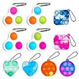 CAMTOA Simple Dimple Fidget Toy,10 PCS Mini Push Bubble Sensory Toys,Washable Stress Relief Hand Toys Keychain,Colorful Fidget Toys Suitable for Adults and Children to Use on Various Occasions