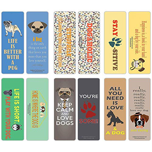 Creanoso Inspiring Dog Lover Bookmark Gifts for Owners (60-Pack) – Six Assorted Quality Dog Themed Bookmarks Bulk Set – Premium Gift for Dog Pet Owners Lovers