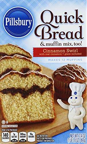 Pillsbury Cinnamon Swirl Quick Bread & Muffin Mix, 17.4-Ounce (Pack of 12)