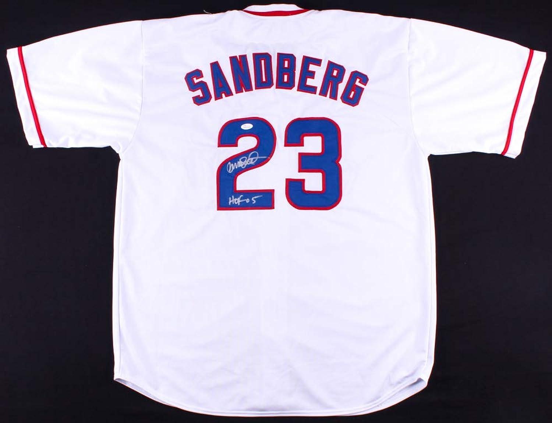 Ryne Sandberg Signed Cubs Replica Jersey Inscribed HOF 05  (JSA COA)