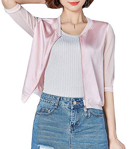 Chaqueta De Satén De Seda Fina De Uniforme De Béisbol De Verano Ropa De Protección Solar con Mangas De Siete Puntos Camisa con Aire Acondicionado para Mujer XL Rosa Claro
