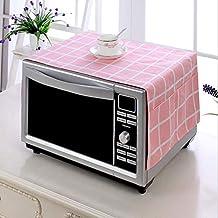 OKMIJN Horno microondas Cubierta de Polvo, Cubierta Estufa Eléctrica Toalla pequeño Lienzo de impresión Activa y teñido de algodón y Lino de la Cubierta a Prueba de Polvo (Color : Pink Grid)