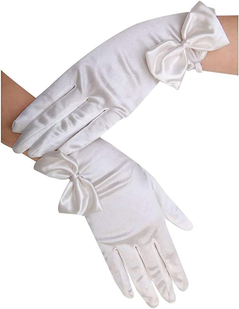 Dsxnklnd Bowknot Satin Solid Color Short Wedding Gloves Bridal Oblique Cuff Mittens