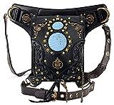 Gothic Waist Bag Fanny Pack Leather Steampunk Bag Side Bag Travel Purse Side Wallet Punk Rock Chain Leg Bag Crossbody Shoulder Messenger Bags Handbag Hip Holster Pouch for Women Girls (Black)