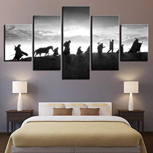 CHUADIAD HD décor à la Maison imprimé peintures modulaires 5 Panneau Seigneur des Anneaux Personnage Tableau Photos Art Mural Toile Affiches Modernes-sans Cadre