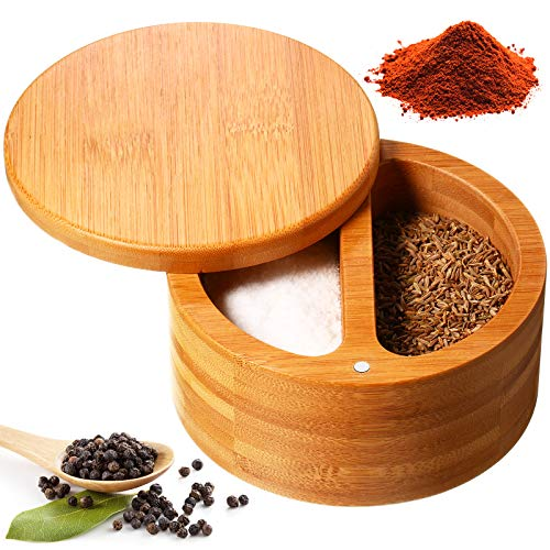 Salt Box Salt Keeper Bamboo Salt and Pepper Box Container, Salt Cellar with 2 Storage Compartments Swivel Lid and Magnet for Kitchen to Keep Food Dry