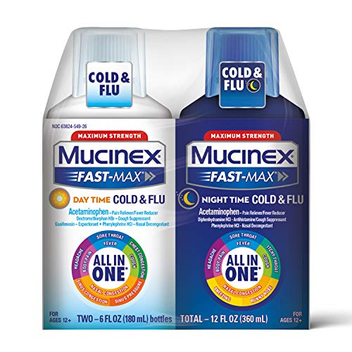 Mucinex Fast-Max Day Time Cold & Flu and Night Time Cold & Flu Liquid Medicine, 12 fl oz, Maximum Strength All in One Multi Symptom Relief for Congestion, Sore Throat, Headache,Cough and Reduces Fever