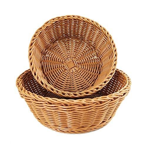 Cesta de pan de frutas, hecha a mano, de ratán, cesta de almacenamiento de frutas, bocadillos redondos, cesta de regalo de alimentos, cesta de almacenamiento de cocina (marrón)
