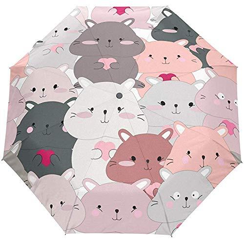 Valentinstag Herz Liebe Sommer Frühling Hochzeit Niedlich Katzen Auto Öffnen Schließen Sonne Regen Regenschirm