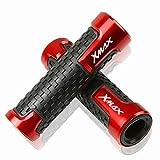Puños de manillar antideslizantes para YAMA HA Xmax X-MAX 125 250 300 400 2017 2018 2019 Scooters XMAX Accesorios universales de motocicleta de agarre manual de barra de manillar de 7/8'22 mm(Rojo)