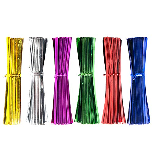 Unves 1200 Pcs Metallic Twist Ties, 4 Inch Assorted Color Reused Bread Twist Ties for Bags Packing Kitchen Wedding Christmas Party Decor (6 Colors)