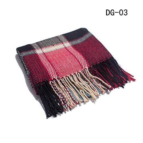 Amantes weile Liga caen y aire acondicionado de invierno bufanda,rejilla Claret,190~200cm