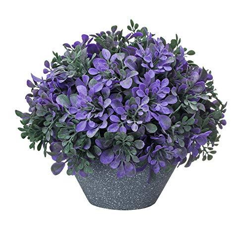VILIVIT Artificial Plants with Gray Vase for Home Decoration - Potted Plants for Bookshelf (Purple)