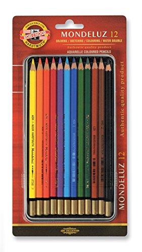 Koh-I-Noor Mondeluz acuarelable Juego de diseño de lápices de Colores blíster, Juego de 12