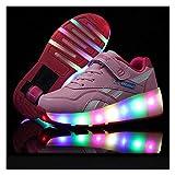 Patines Deportes Zapatos, Niños LED Luz Flash Zapatos De Roller Con USB Recargable Automática Ruedas Patines Al Aire Libre Gimnasia Zapatillas De Skateboard Para,Tamaño (28-40)Pink ~ Single wheel-38