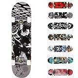 WeSkate Completo Skateboard per Principianti, 31'' x 8'' 7 Strati di Acero Double Kick Deck Concavo Skate Board per Bambini Adolescenti Giovani Adulti Ragazze Ragazzi (Nero Bianco)