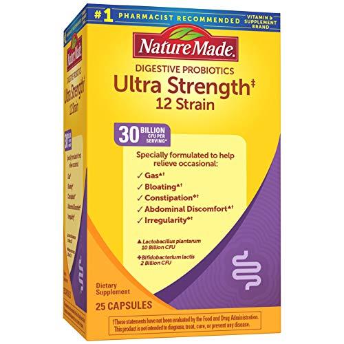 nature made probiotics for women Nature Made Ultra Strength 12 Strain Digestive Probiotics 30 Billion CFU Per Serving, 25 Capsules, for Digestive Balance