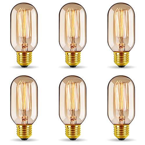 6er Vintage Edison LED Glühbirne, GreenSun LED Lighting E27 T45 Antike 40W LED Filament Lampe Dimmbar, Ideal für Nostalgie und Retro Beleuchtung