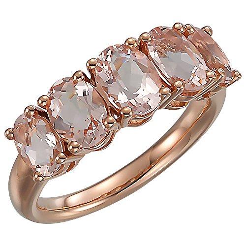 JewelryWeb Ring 14 Karat Rotgold Morganit Größe M 1/2