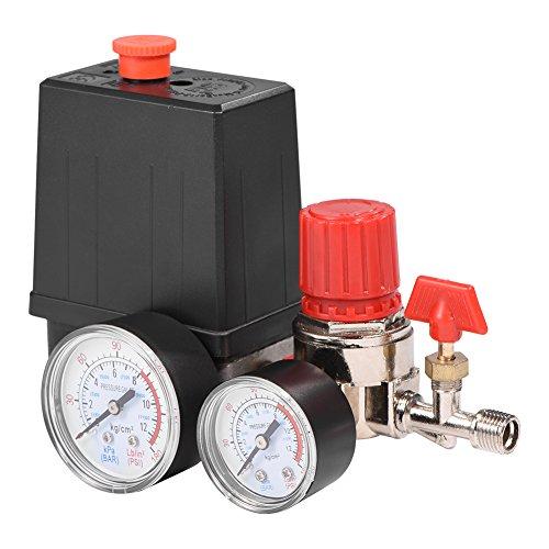 FTVOGUE Druckregler Luftkompressor, Luft kompressor Druckventil Schaltregler mit Anzeigen Kompressorschalter Kompressor Druckwächter