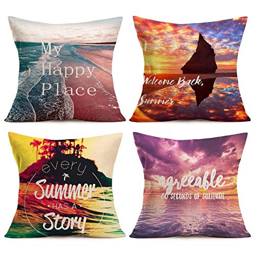 Aremetop Beach Decor Throw Pillow Covers My Happy Place Summer Tropical Island Decorative Cotton Linen Cushion Protector with Inspirational Quote 18x18 Inch Square Ocean Sea Pillowcases Set of 4